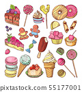 Wedding desserts, sweets cupcakes and ice cream in hand drawn style. Coloring doodle vector 55177001