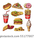 Fast food pictures. Burgers, cola sandwich hotdog and french fries. Hand drawn color vector 55177007