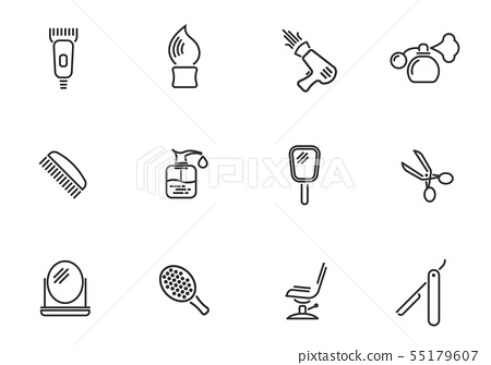 Barbershop icon set 55179607