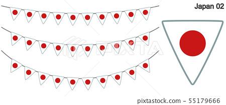Garland of Japan flag vector data (bunting garland) 55179666