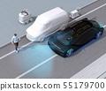 길가에 멈춰있는 택배 차량의 옆에서 걸어 나온 보행자를 감지하고 급 정차하는 차. 자동 브레이크 컨셉 55179700