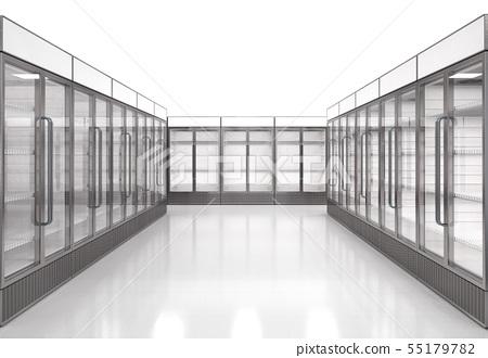 empty commercial fridges in store 55179782