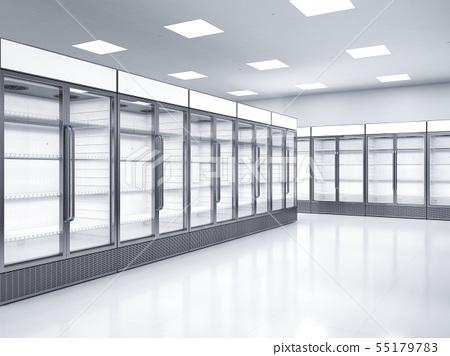 empty commercial fridges in store 55179783