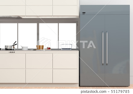 fridge with side by side doors in kitchen 55179785