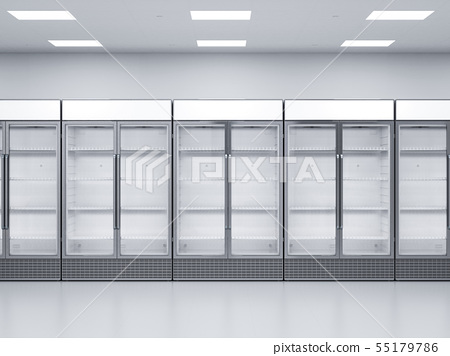 empty commercial fridges in store 55179786