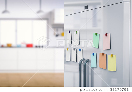 empty notes with fridge magnets 55179791