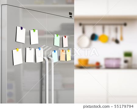 empty notes with fridge magnets 55179794