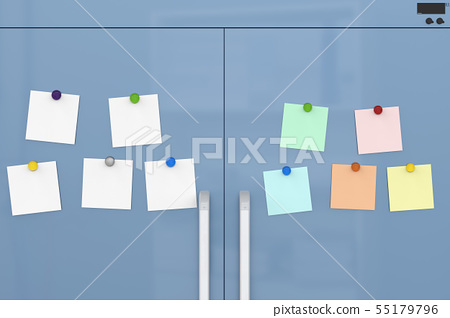 empty notes with fridge magnets 55179796