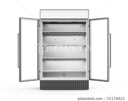 empty fridge with glass doors open 55179822
