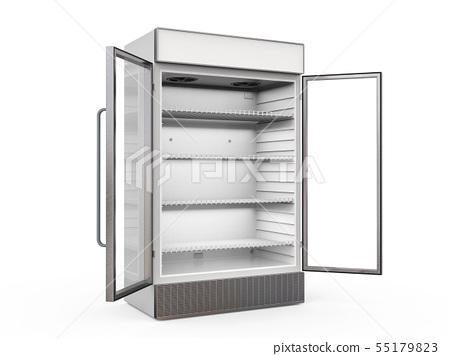 empty fridge with glass doors open 55179823