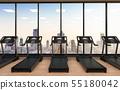 treadmills in fitness gym 55180042
