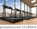 treadmills in fitness gym 55180045