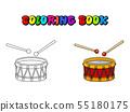 Drum coloring pages cartoon icon symbol design 55180175