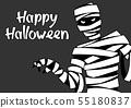 Happy Halloween greeting card with mummy. 55180837