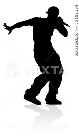 Singer Pop Country or Rock Star Silhouette 55182184