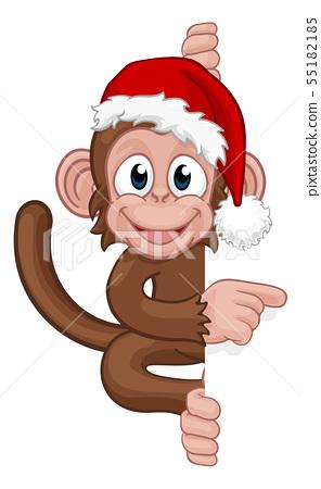 Christmas Monkey Cartoon Character in Santa Hat 55182185