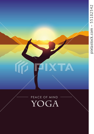 peace of mind woman makes yoga silhouette by the lake with autumn mountain landscape at sunset 55182542