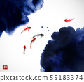 Ink wash painting illustration with small koi carps fishes and leaves of water plants. Hieroglyph - 55183374