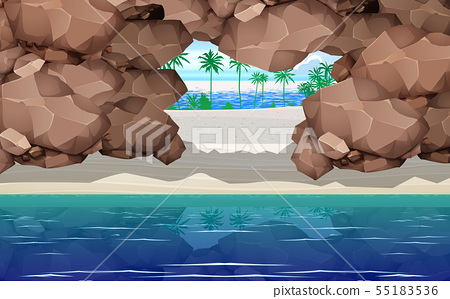 landcape of rock tunnel at the baech on the island 55183536