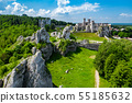 medieval castle ruins located in Ogrodzieniec, Poland 55185632