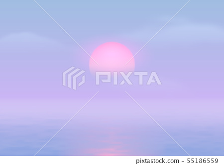 Sun Over The Sea With Sun Road And Vaporwave Stock Illustration 55186559 Pixta