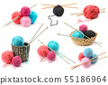 Assorted woolen yarn balls isolated on white 55186964