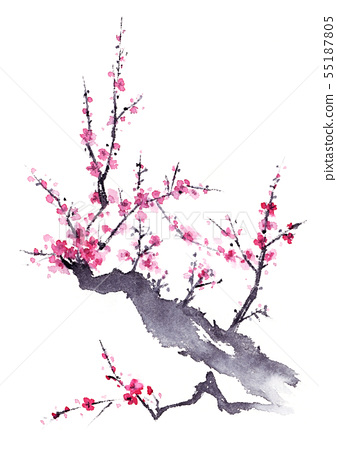 Plum ink painting 55187805