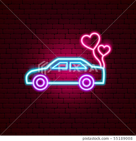Just Married Car Neon Sign Stock