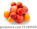 Fresh juicy peaches fruits and ripe apricots isolated on white background. Summer fruit concept 55189569