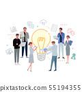 일하는 사람들 전구 아이디어 팀 일러스트 아이콘 55194355