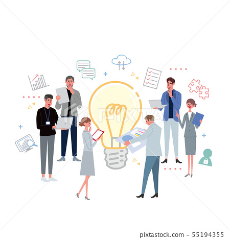 Working people bulb idea team illustration icon 55194355