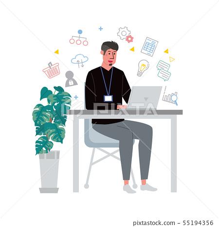 做個人計算機的男性例證象往書桌 55194356