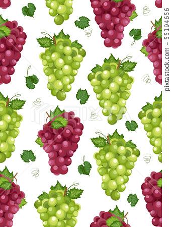 Grape bunch seamless pattern on white background 55194656