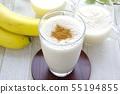 Banana and soy milk sweet sake smoothie sweet sake smoothie cinnamon topping 55194855