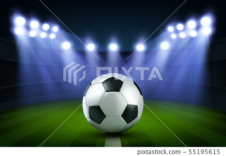 Soccer ball on stadium, football arena banner 55195615