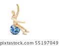 Wooden figure sitting on planet earth globe. 55197049
