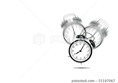 Alarm clock alerting at seven o'clock. 55197067