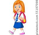 Cartoon happy school girl in uniform carrying back 55197098