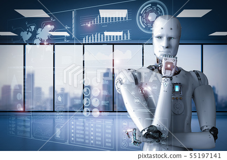 robot working with digital display 55197141
