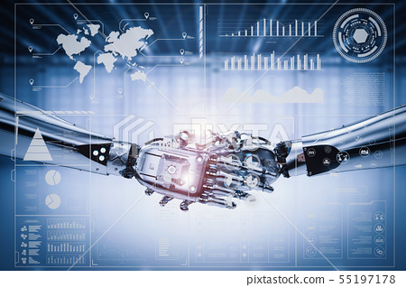 robot hand shake with virtual graphic 55197178