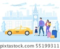 Advertising Poster Family Travel Cartoon Flat.  55199311