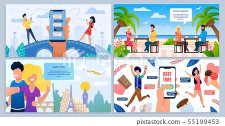 Romantic Date, Honeymoon Travel Vector Posters Set
