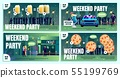 Nightclub Special Offer Flat Vector Ad Posters Set 55199769
