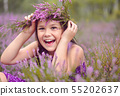 Girl in heather flowers 55202637