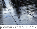Silhouettes on wet road tiles 55202717