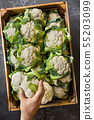 Cauliflower in a wooden box. View from above. 55203099