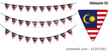 馬來西亞國旗矢量數據(彩旗花環) 55203262