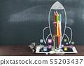Rocket Sketch On Blackboard 55203437