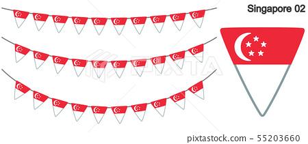 新加坡国旗矢量数据(彩旗花环) 55203660