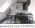 modern loft kitchen interior design. 55205041